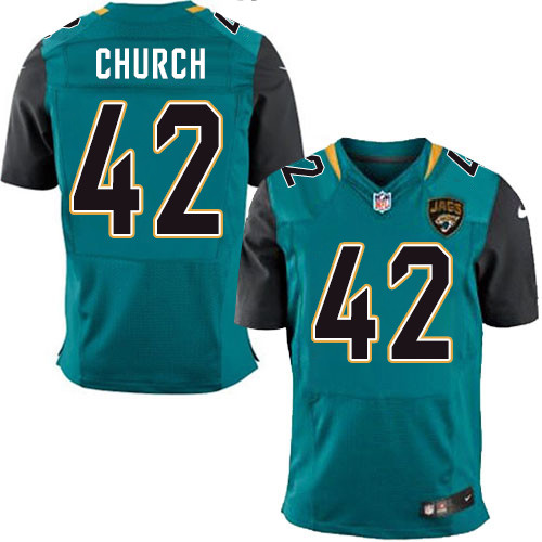 Nike Jaguars Men's #42 Barry Church Stitched Teal Green Team Color NFL Elite Jersey