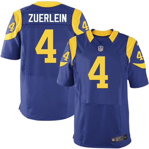 Nike Rams Men's #4 Greg Zuerlein Stitched Royal Blue Alternate NFL Elite Jersey