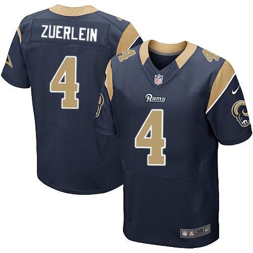 Nike Rams Men's #4 Greg Zuerlein Stitched Navy Blue Team Color NFL Elite Jersey