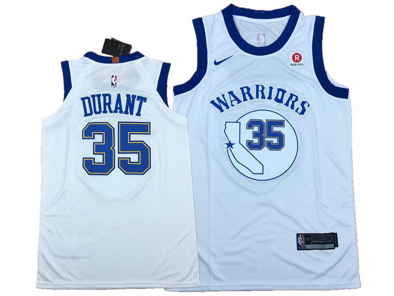 Men's Warriors 35 Kevin Durant White Fashion Current Player Hardwood Classics Nike Jersey