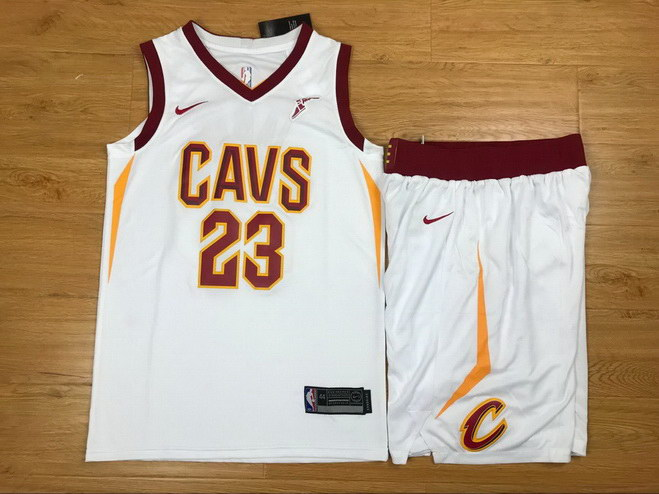 Men's Cavaliers 23 Lebron James White Nike Swingman Jersey(With Shorts)