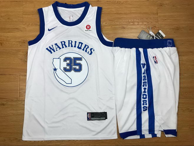Men's Warriors 35 Kevin Durant White Fashion Current Player Hardwood Classics Nike Authentic Jersey(With Shorts)