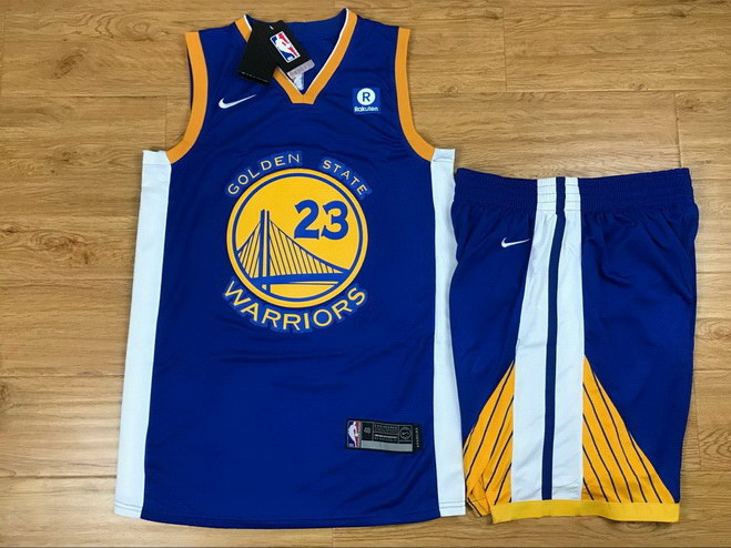 Men's Warriors 23 Draymond Green Blue Nike Swingman Jersey(With Shorts)