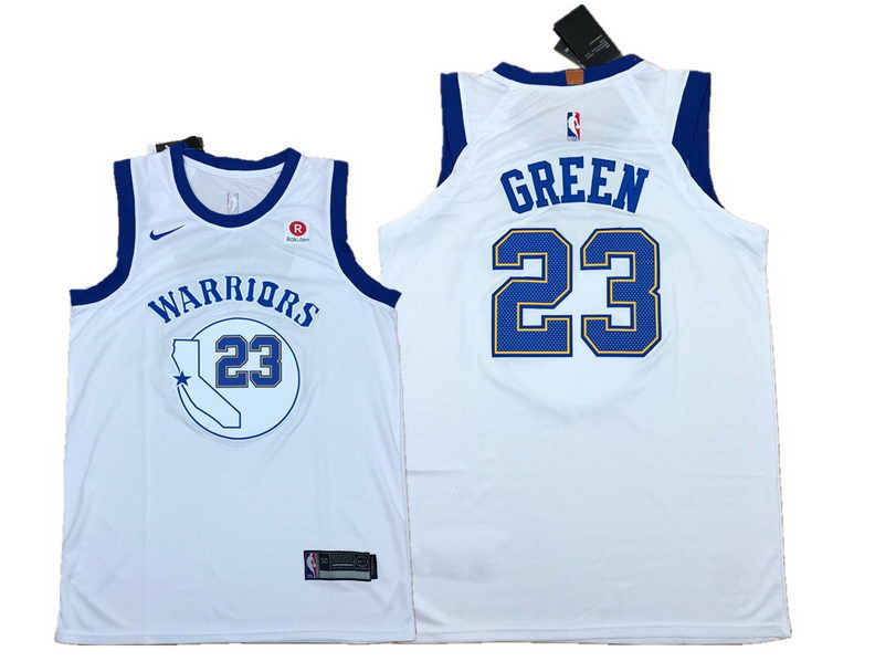 Men's Warriors 23 Draymond Green White Fashion Current Player Hardwood Classics Nike Authentic Jersey