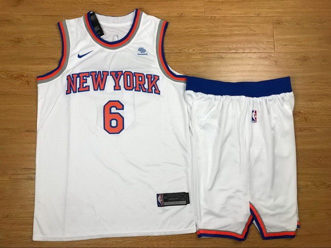 Men's Knicks 6 Kristaps Porzingis White Nike Swingman Jersey(With Shorts)