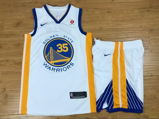 Men's Warriors 35 Kevin Durant White Nike Swingman Jersey(With Shorts)