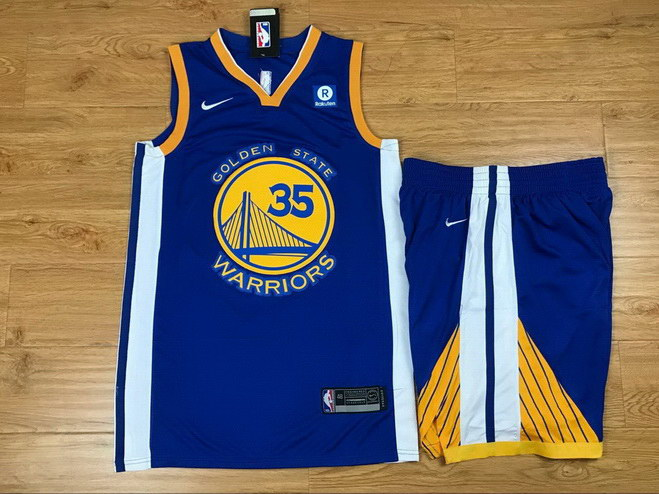 Men's Warriors 35 Kevin Durant Blue Nike Swingman Jersey(With Shorts)