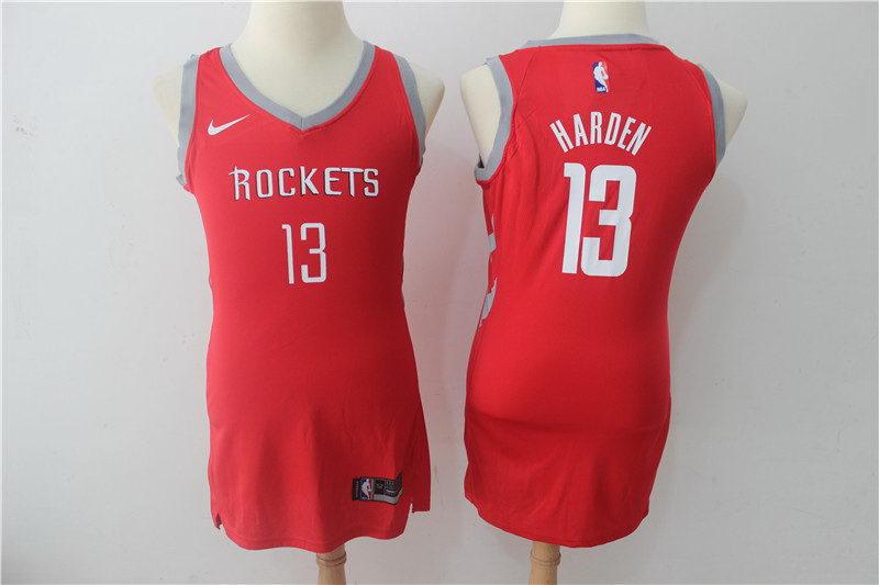 Women Nike Rockets 13 James Harden Red Nike Swingman Jersey