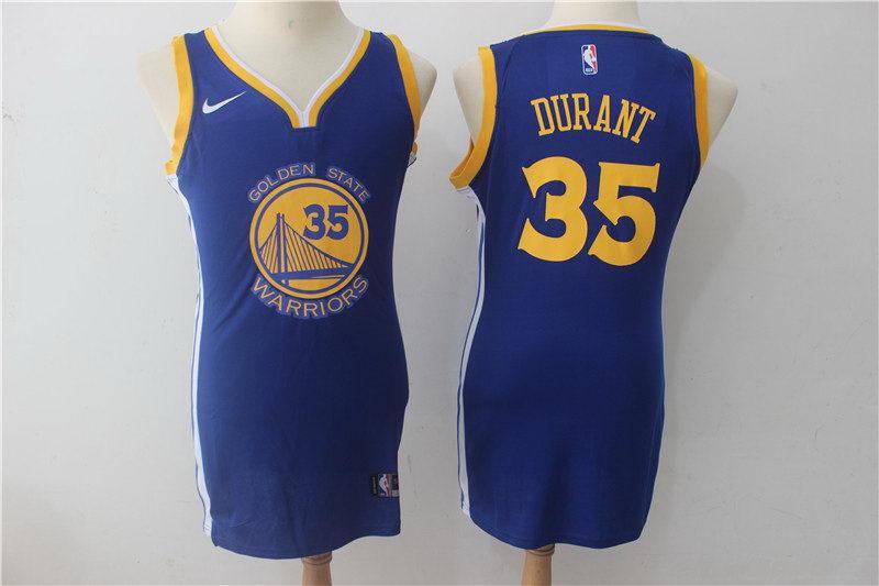 Women Nike Warriors 35 Kevin Durant Blue Nike Swingman Jersey