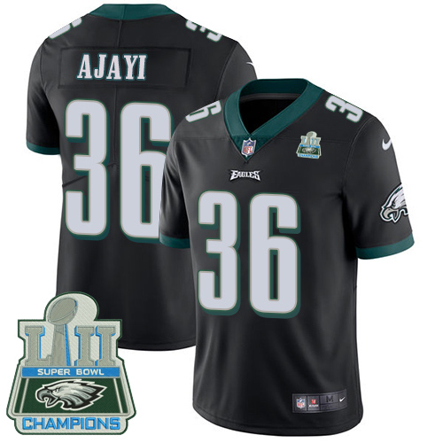 Men's Nike Eagles #36 Jay Ajayi Black Alternate Super Bowl LII Champions Stitched NFL Vapor Untouchable Limited Jersey