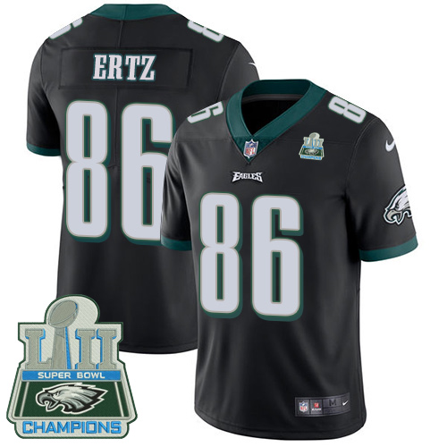 Men's Nike Eagles #86 Zach Ertz Black Alternate Super Bowl LII Champions Stitched NFL Vapor Untouchable Limited Jersey