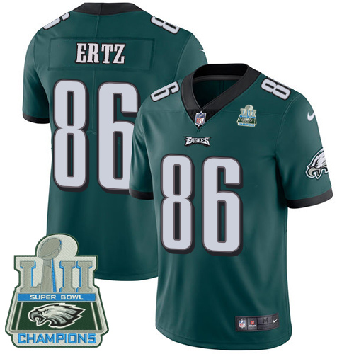 Men's Nike Eagles #86 Zach Ertz Midnight Green Team Color Super Bowl LII Champions Stitched NFL Vapor Untouchable Limited Jersey