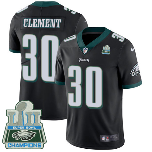 Men's Nike Eagles #30 Corey Clement Black Alternate Super Bowl LII Champions Stitched NFL Vapor Untouchable Limited Jersey