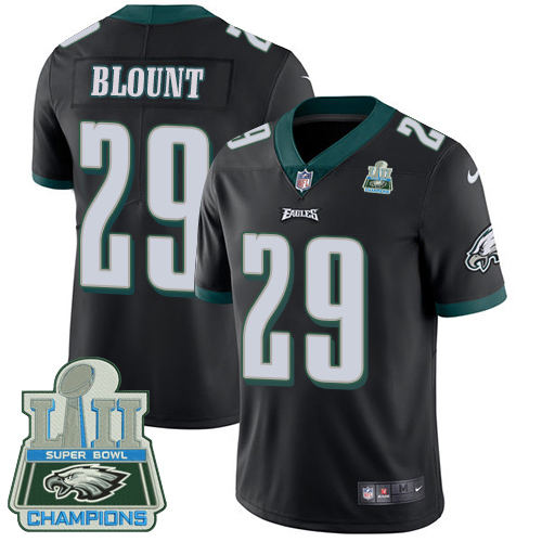Men's Nike Eagles #29 LeGarrette Blount Black Alternate Super Bowl LII Champions Stitched NFL Vapor Untouchable Limited Jersey