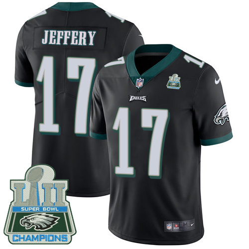 Men's Nike Eagles #17 Alshon Jeffery Black Alternate Super Bowl LII Champions Stitched NFL Vapor Untouchable Limited Jersey