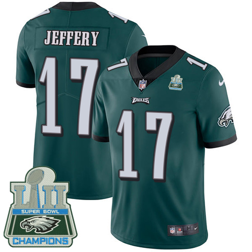 Men's Nike Eagles #17 Alshon Jeffery Midnight Green Team Color Super Bowl LII Champions Stitched NFL Vapor Untouchable Limited Jersey