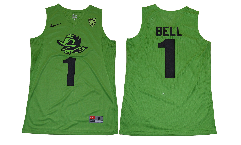 Men's Oregon Ducks 1 Jordan Bell Green College Basketball Jersey