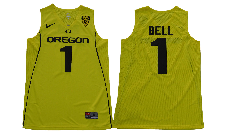 Men's Oregon Ducks 1 Jordan Bell Yellow College Basketball Jersey