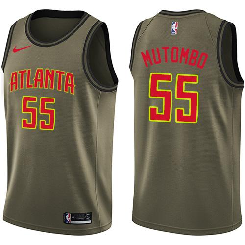 Nike Atlanta Hawks #55 Dikembe Mutombo Green Men's Salute to Service NBA Swingman Jersey