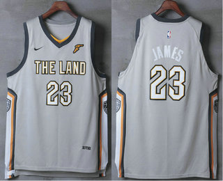 Nike Cleveland Cavaliers #23 LeBron James Gray The Land 2017-2018 Men's Authentic Stitched NBA Jersey