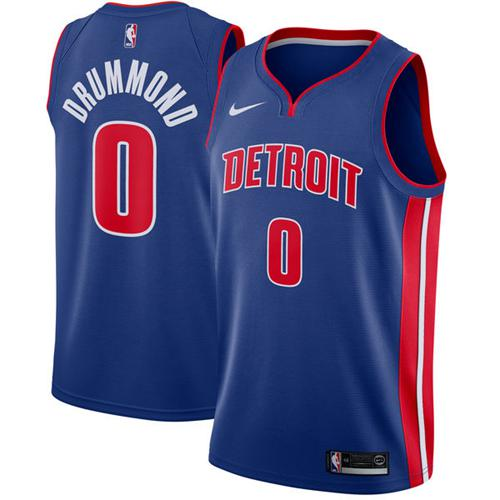 Nike Detroit Pistons #0 Andre Drummond Blue NBA Swingman Association Edition Jersey