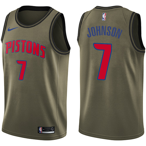 Nike Pistons #7 Stanley Johnson Green Men's Salute to Service NBA Swingman Jersey