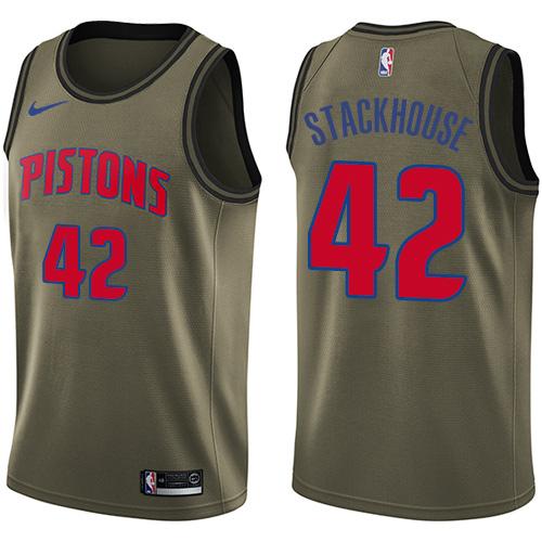 Nike Pistons #42 Jerry Stackhouse Green Men's Salute to Service NBA Swingman Jersey