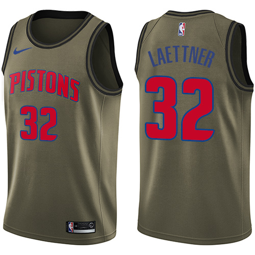 Nike Pistons #32 Christian Laettner Green Men's Salute to Service NBA Swingman Jersey