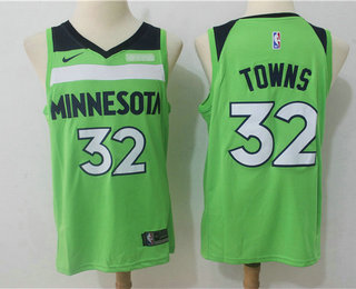 Nike Minnesota Timberwolves #32 Karl-Anthony Towns New Green 2017-2018 Men's Swingman Fitbit Stitched NBA Jersey
