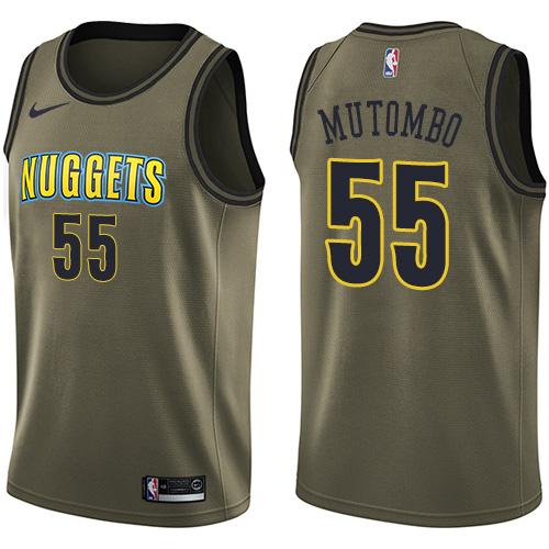 Nike Nuggets #55 Dikembe Mutombo Green Men's Salute to Service NBA Swingman Jersey