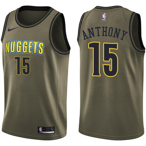 Nike Nuggets #15 Carmelo Anthony Green Men's Salute to Service NBA Swingman Jersey
