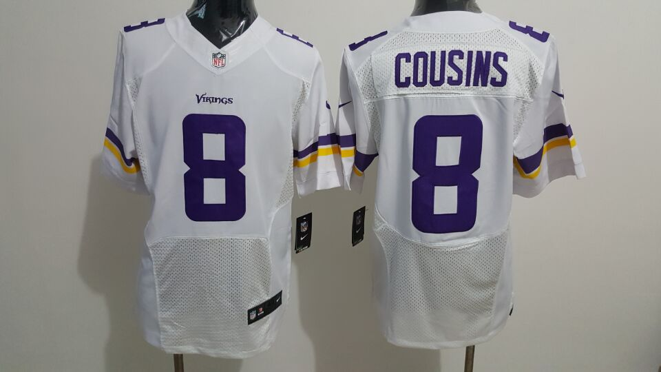 Men's Nike Vikings #8 Kirk Cousins White Stitched NFL Elite Jersey
