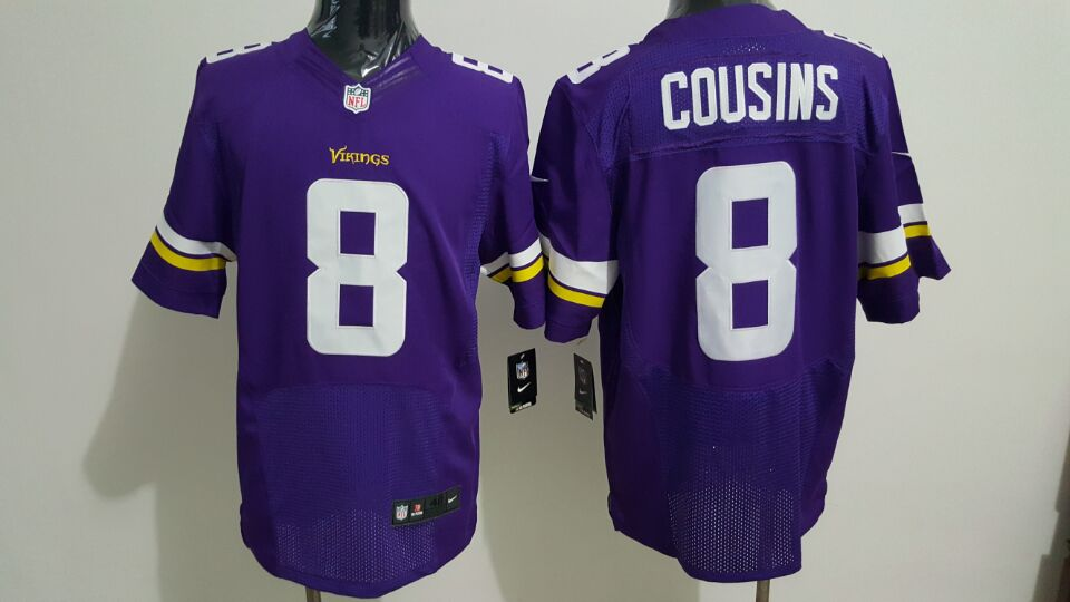 Men's Nike Vikings #8 Kirk Cousins Purple Team Color Stitched NFL Elite Jersey