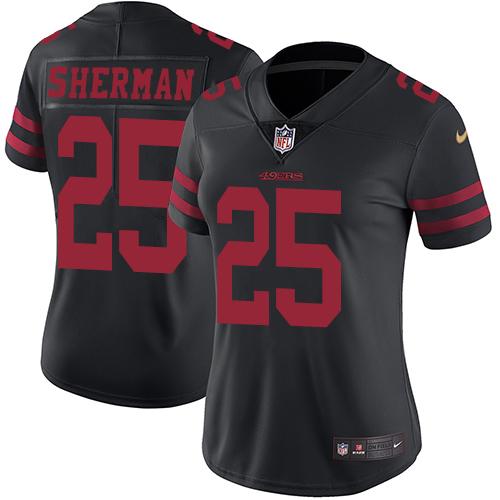 Women's Nike 49ers #25 Richard Sherman Black AlternateStitched NFL Vapor Untouchable Limited Jersey