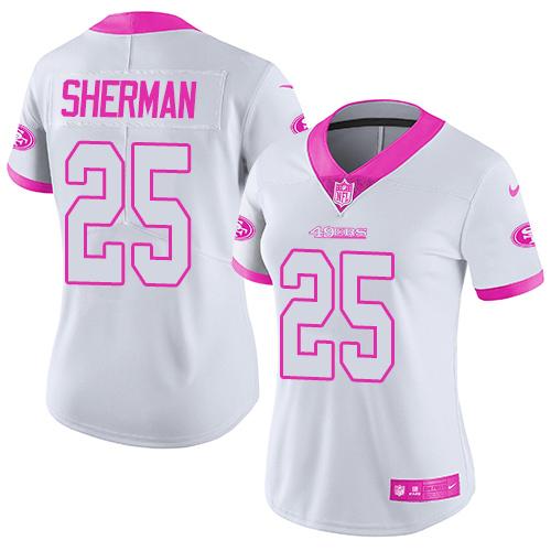 Women's Nike 49ers #25 Richard Sherman White Pink Stitched NFL Limited Rush Fashion Jersey