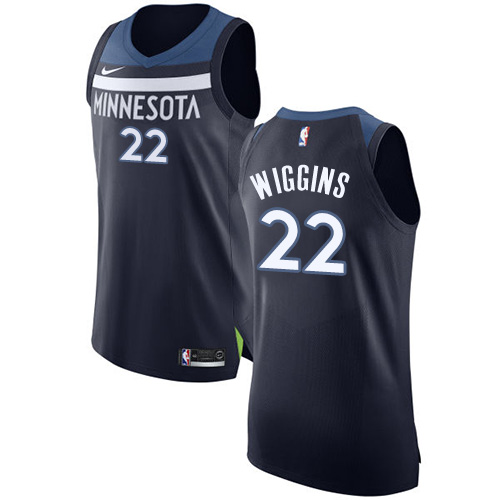 Nike Minnesota Timberwolves #22 Andrew Wiggins Navy Blue NBA Authentic Icon Edition Jersey