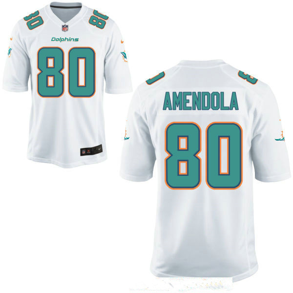 Men's Miami Dolphins #80 Danny Amendola White Stitched NFL Nike Game Jersey