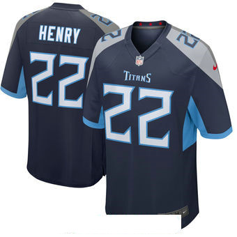 Men's Tennessee Titans #22 Derrick Henry Navy New 2018 Nike Game Jersey
