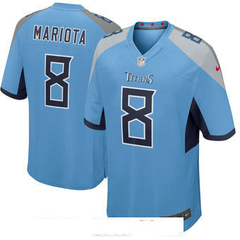 Men's Tennessee Titans #8 Marcus Mariota Light Blue New 2018 Nike Game Jersey