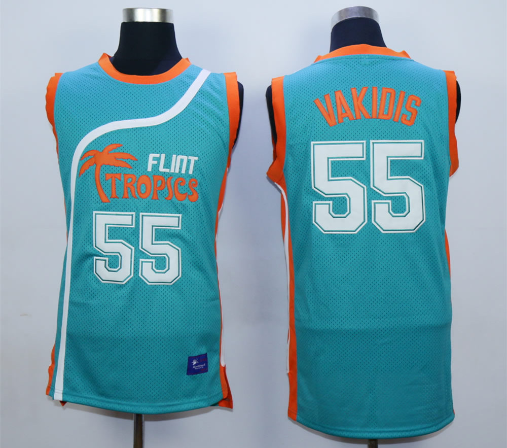 Flint Tropics #55 Vakidis Teal Semi Pro Movie Basketball Stitched Jersey