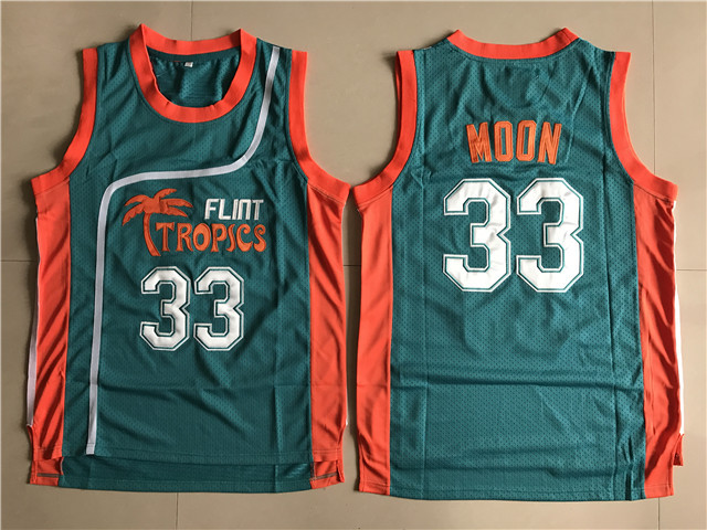 Flint Tropics #33 Jackie Moon Teal Semi Pro Movie Basketball Stitched Jersey