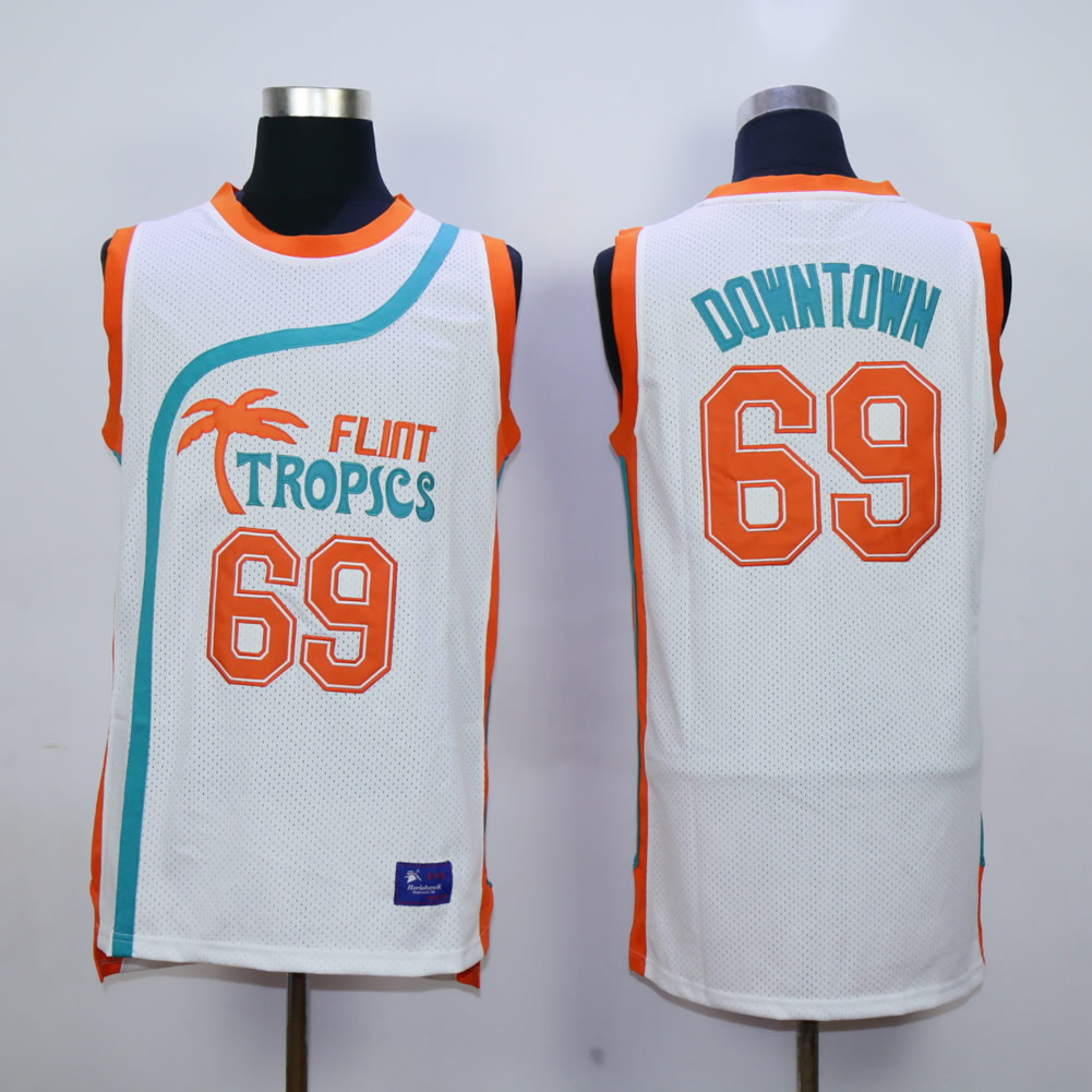 Flint Tropics #69 Downtown White Semi Pro Movie Basketball Stitched Jersey