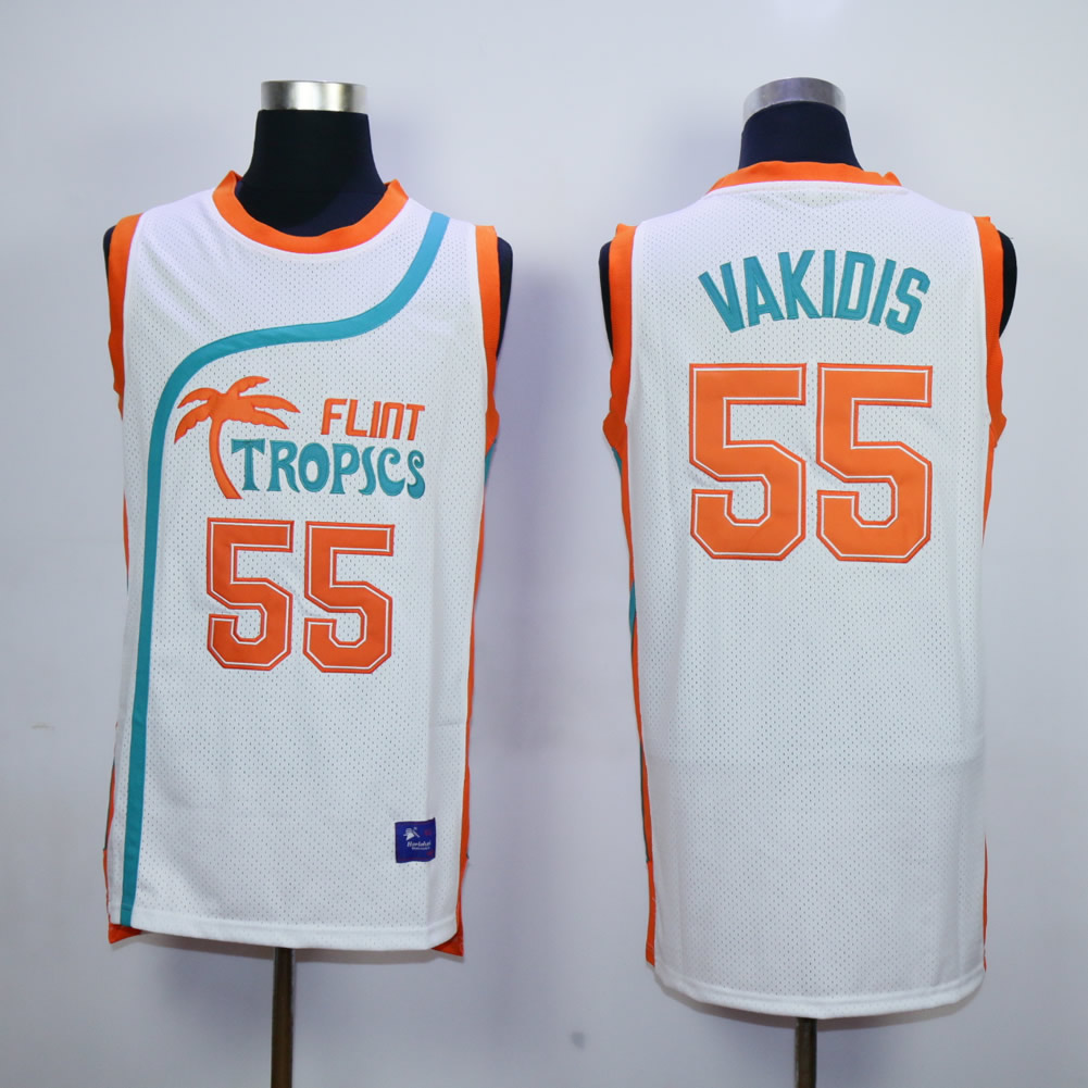Flint Tropics #55 Vakidis White Semi Pro Movie Basketball Stitched Jersey