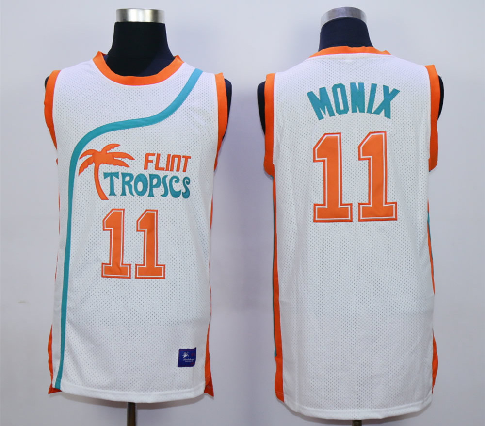 Flint Tropics #11 Ed Monix White Semi Pro Movie Basketball Stitched Jersey
