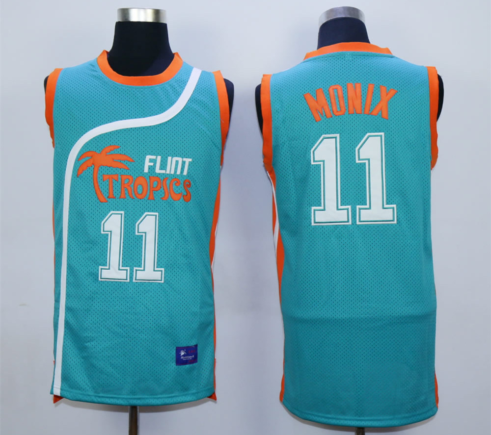 Flint Tropics #11 Ed Monix Teal Semi Pro Movie Basketball Stitched Jersey