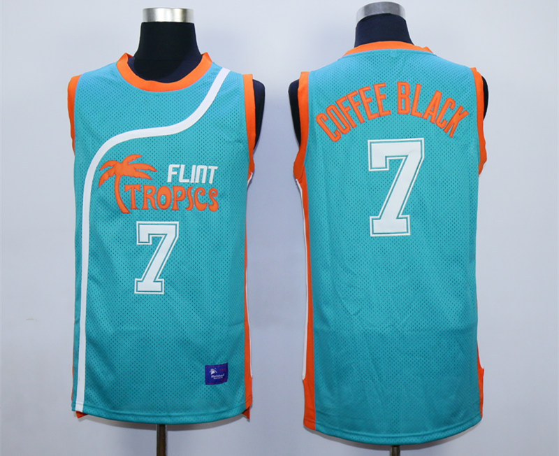 Flint Tropics #7 Coffe Black Teal Semi Pro Movie Basketball Stitched Jersey