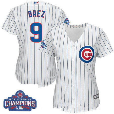 Women's Chicago Cubs #9 Javier Baez Majestic Home White 2016 World Series Champions Team Logo Patch Player Jersey