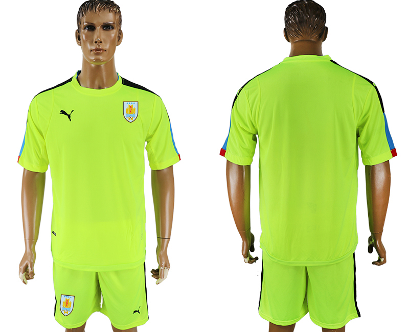 Uruguay Fluorescent Green Goalkeeper 2018 FIFA World Cup Soccer Jersey Any Name and Number Can Do