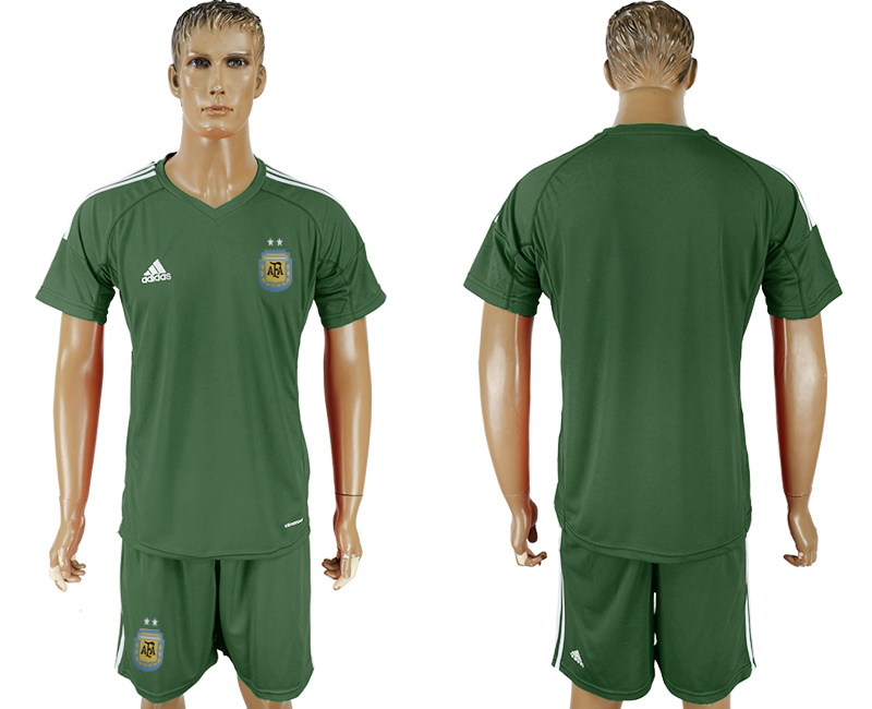 Argentina Army Green Goalkeeper 2018 FIFA World Cup Soccer Jersey Any Number and Number Can Do