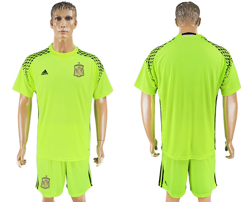 Spain Fluorescent Green Goalkeeper 2018 FIFA World Cup Soccer Jersey Any Name and Number Can Do